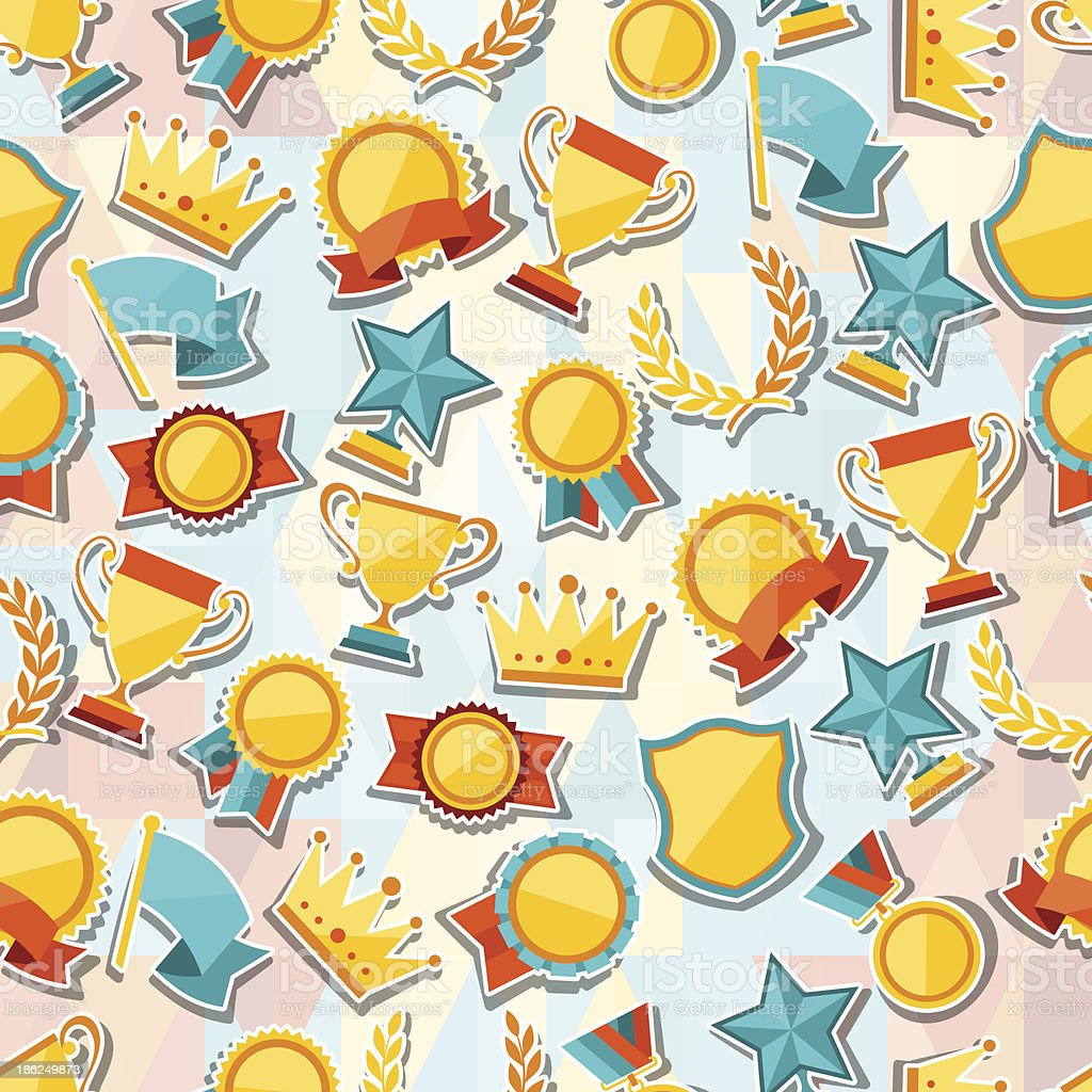 Seamless pattern with trophy and awards stickers. royalty-free stock vector art