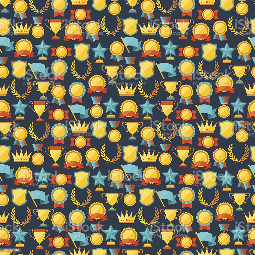Seamless pattern with trophy and awards. royalty-free stock vector art