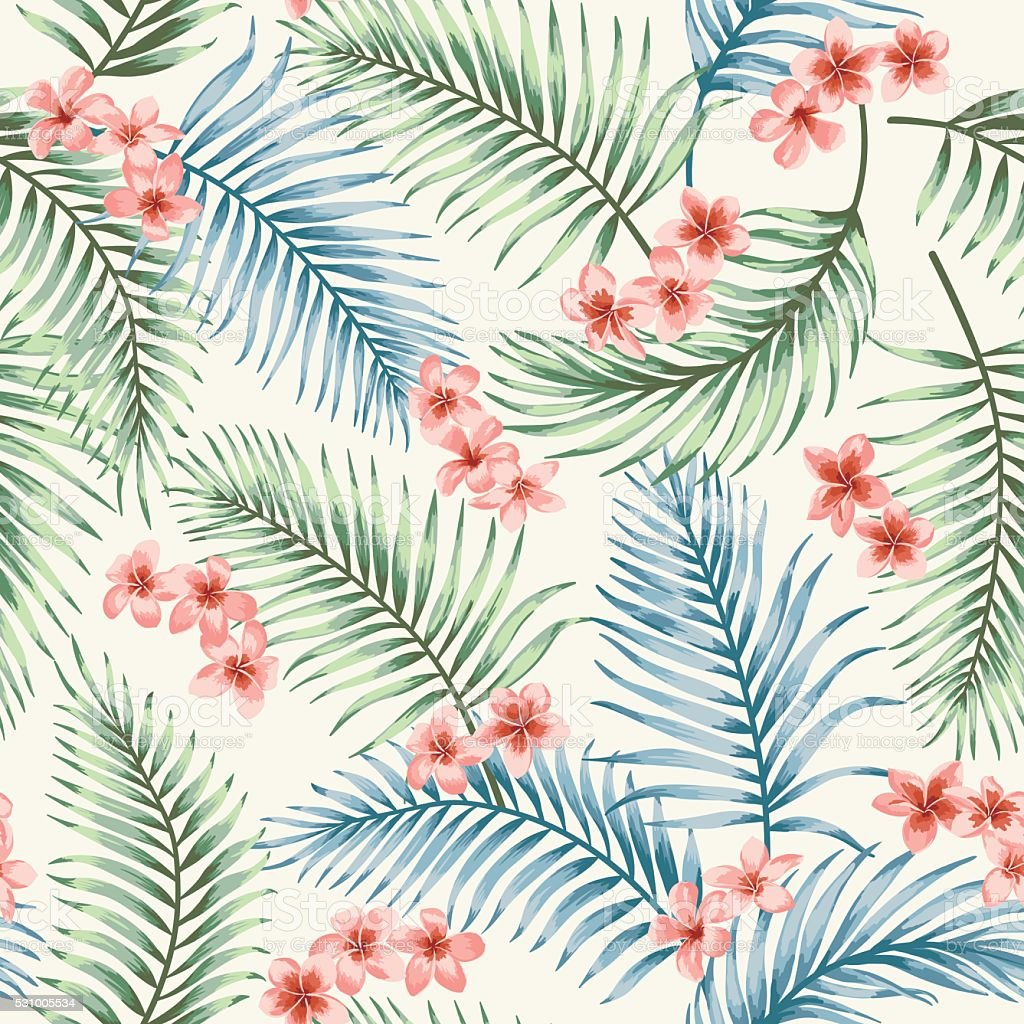 Seamless pattern with tropical leaves and flowers. vector art illustration