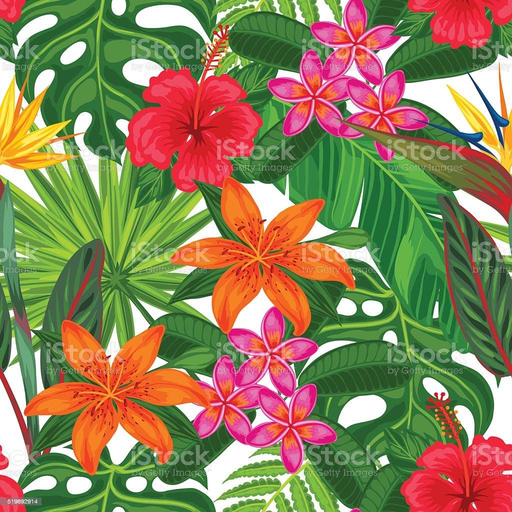Motif uniforme avec plantes tropicales de feuilles et de - Deco printempsidees avec fleurs et motif floral ...