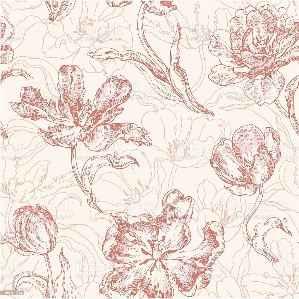 seamless pattern with tulips vector art illustration