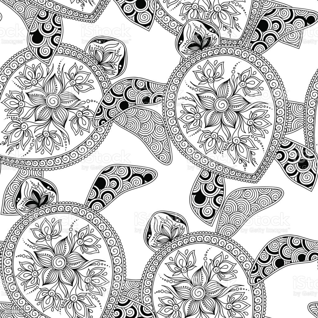 Seamless pattern with turtles. vector art illustration