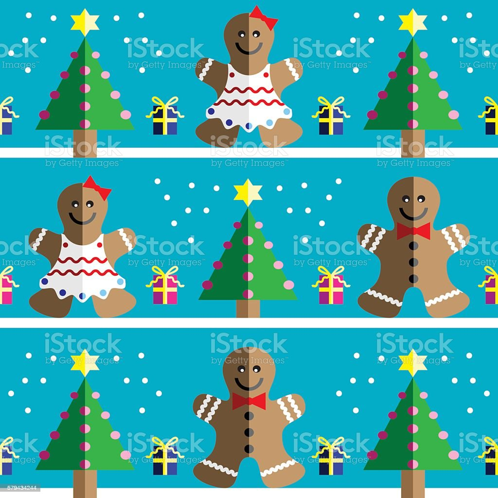 Seamless pattern with two shades gingerbread man and gingerbread woman vector art illustration