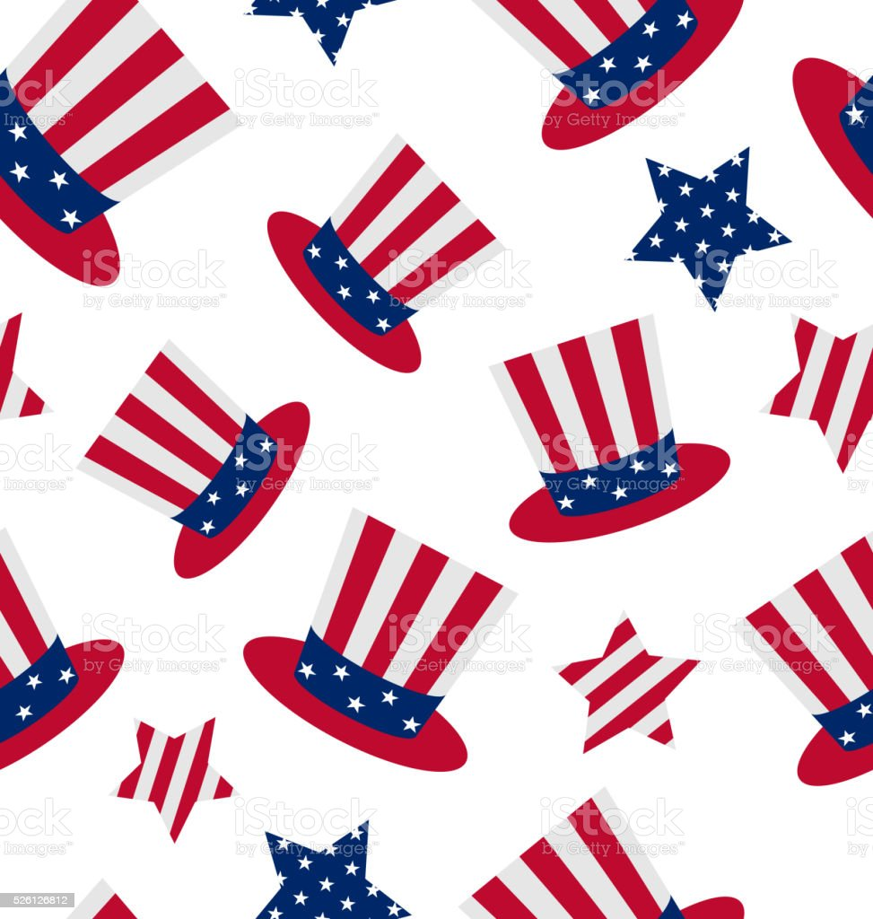 Seamless pattern with Uncle Sam's top hat and stars vector art illustration