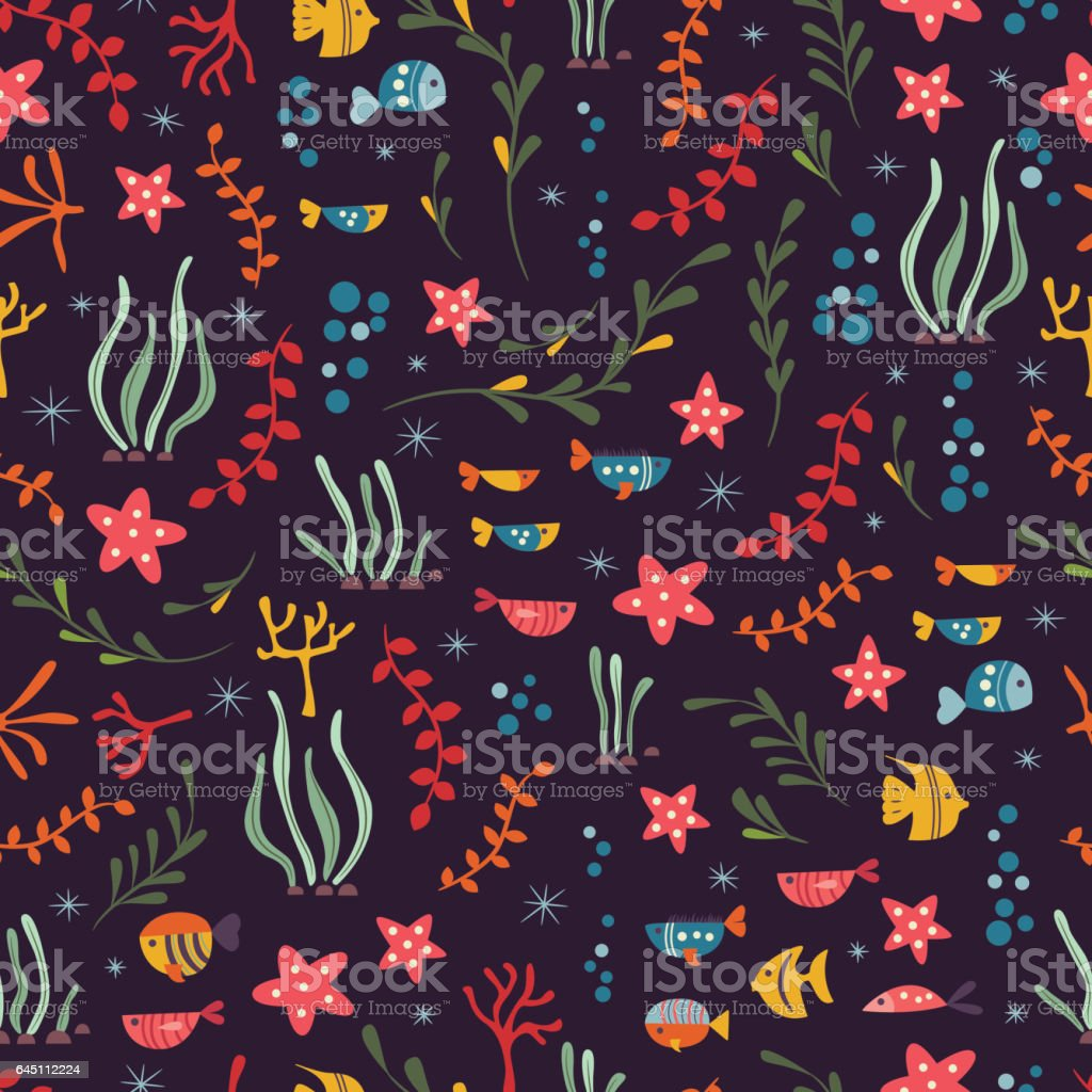 Seamless pattern with underwater ocean animals, cute fish and plants,...
