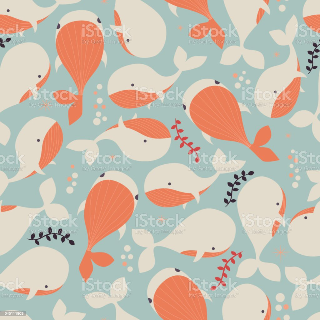 Seamless pattern with underwater ocean animals, cute whales, colorful...