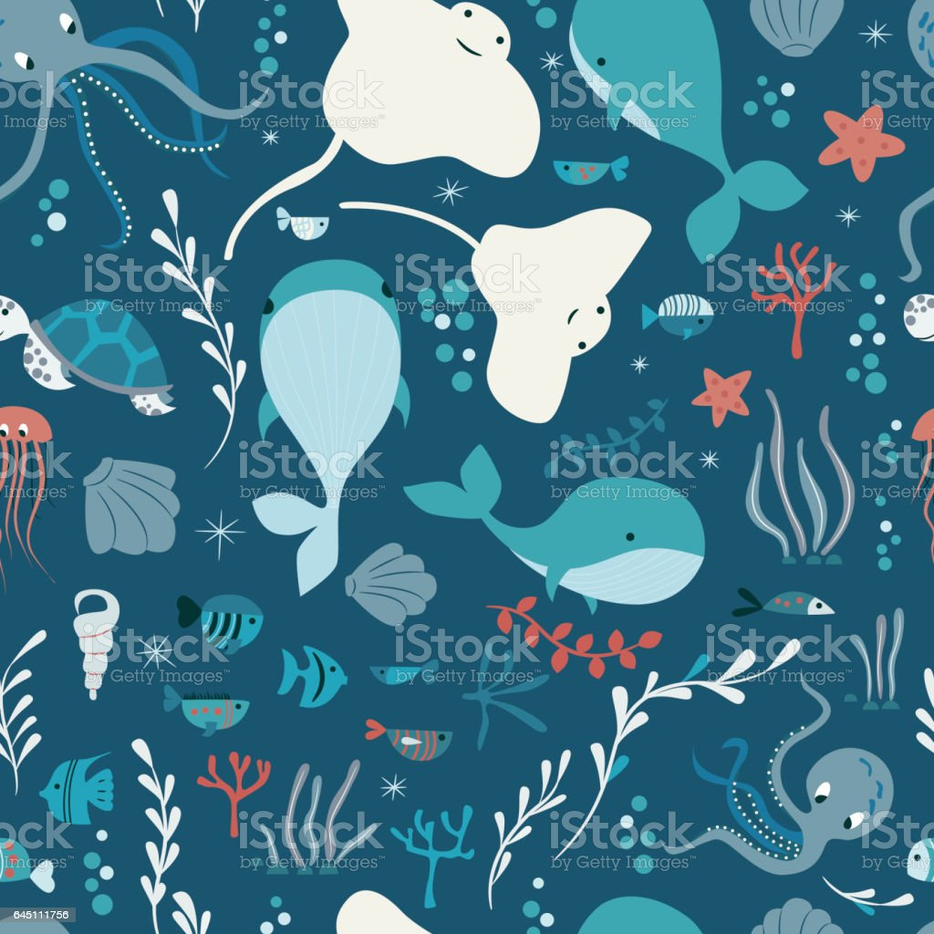 Seamless pattern with underwater ocean animals, whale, octopus,...