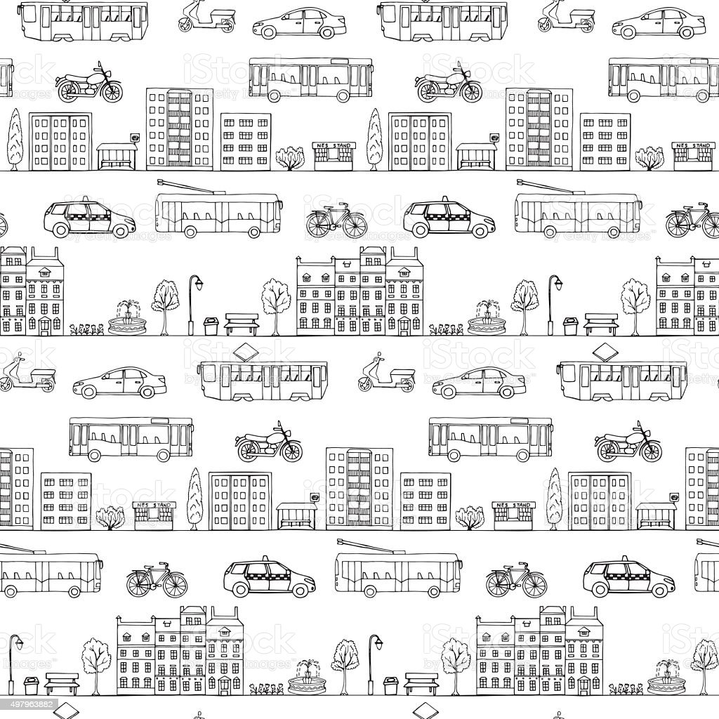Seamless pattern with urban transportation hand drawn vector art illustration