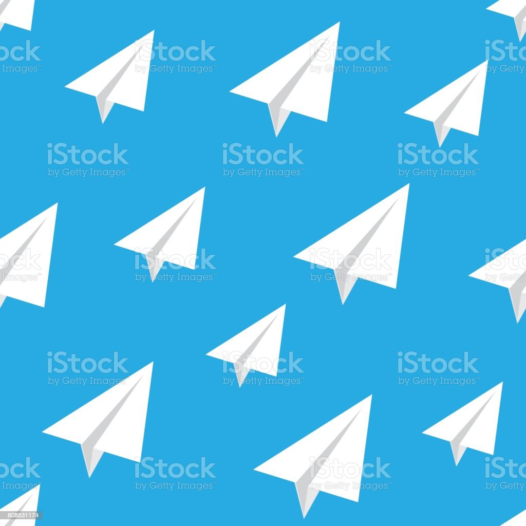 Seamless pattern with vector paper airplane. vector art illustration