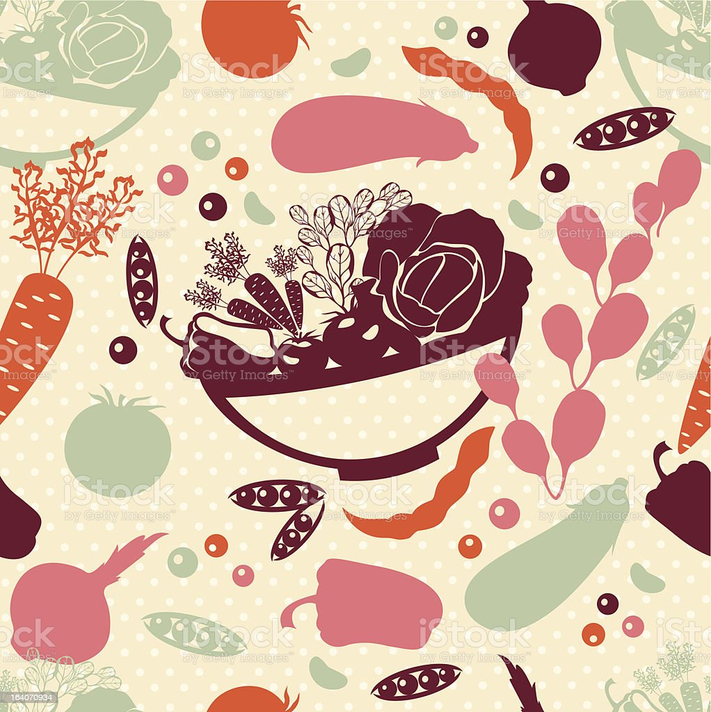 Seamless pattern with vector silhouettes of artistic vegetables. royalty-free stock vector art