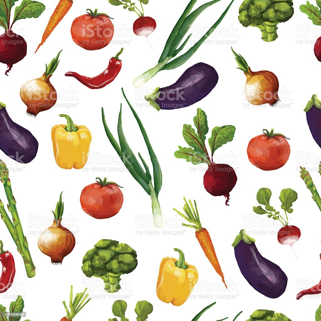Seamless pattern with vegetables in a watercolor style. vector vector art illustration