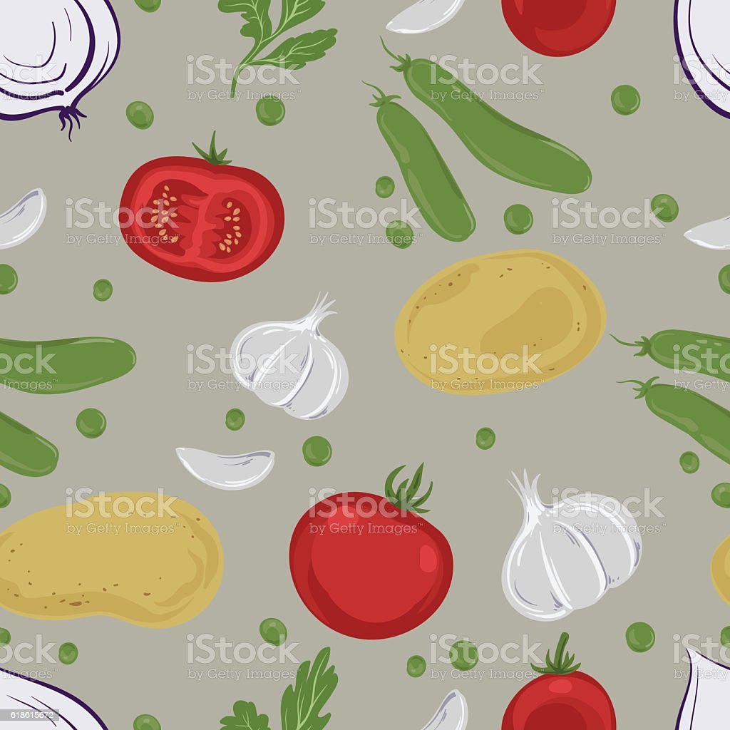 Seamless pattern with vegetables on a beige background. vector art illustration