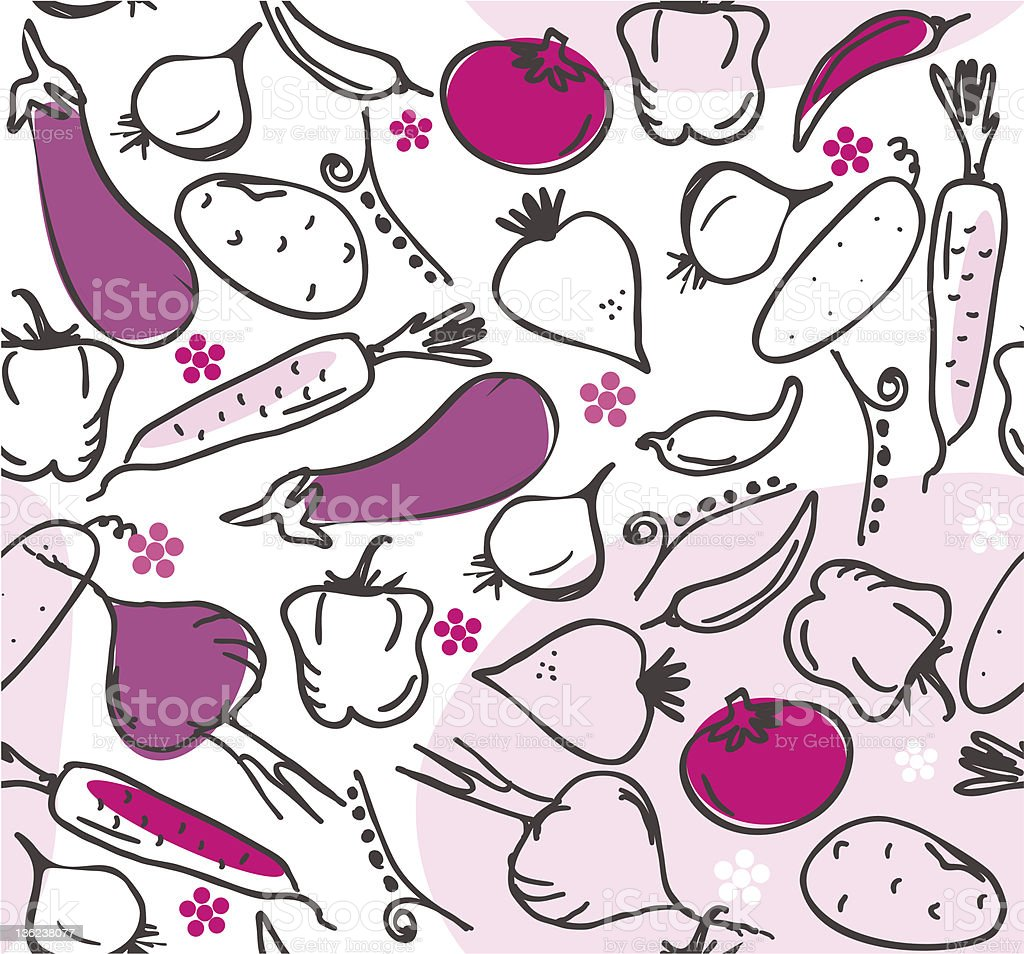 seamless pattern with vegetables vector art illustration