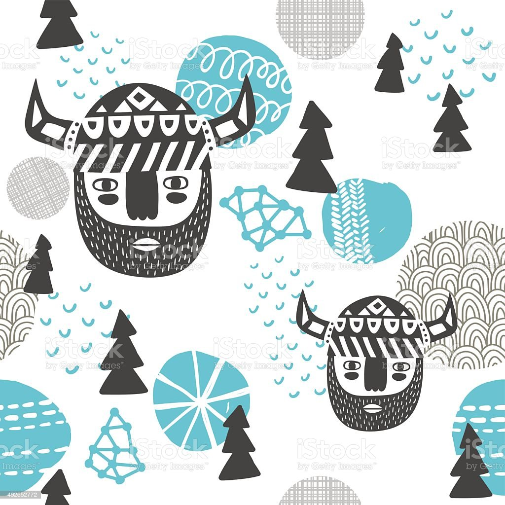 Seamless pattern with vikings faces. vector art illustration