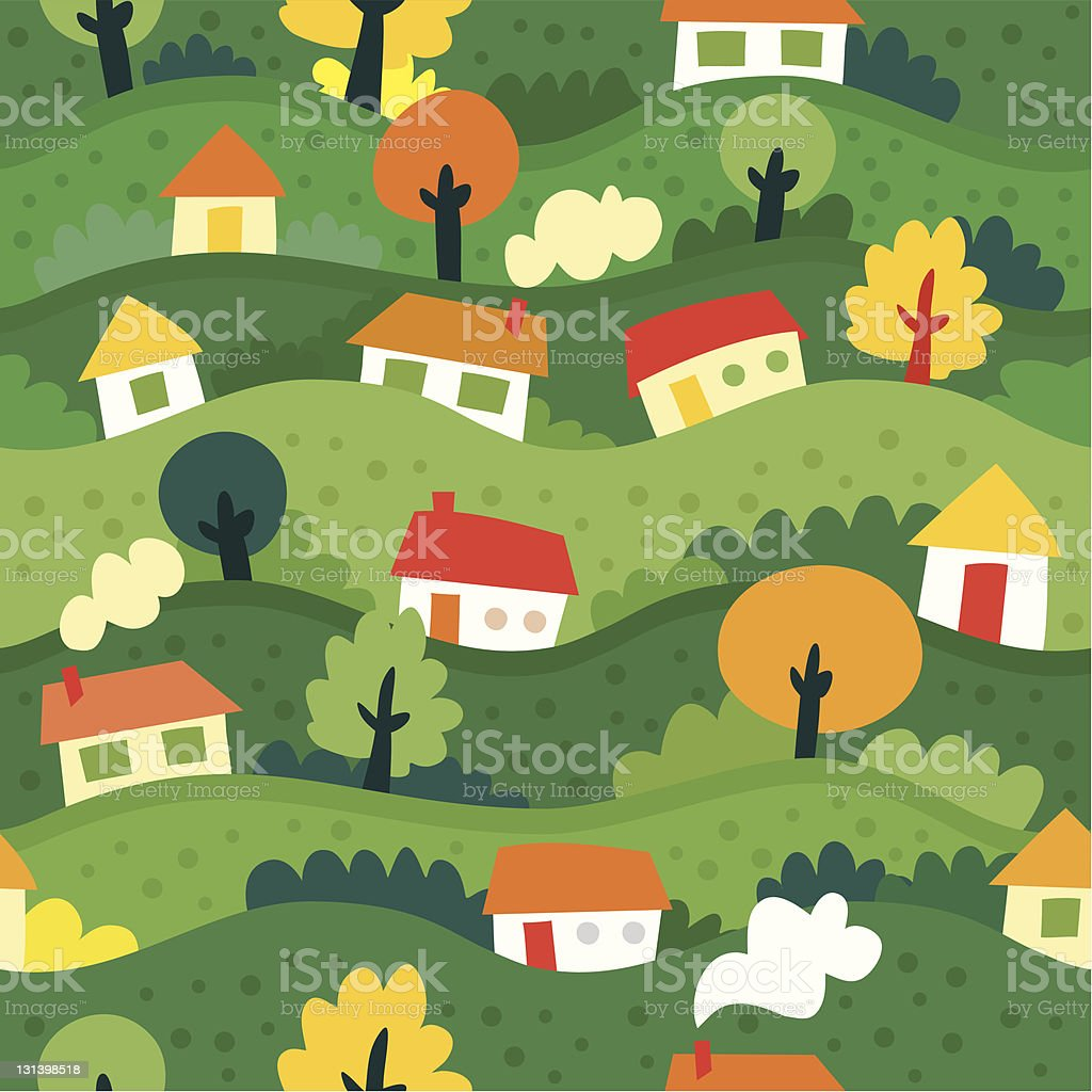 seamless pattern with village and houses royalty-free stock vector art