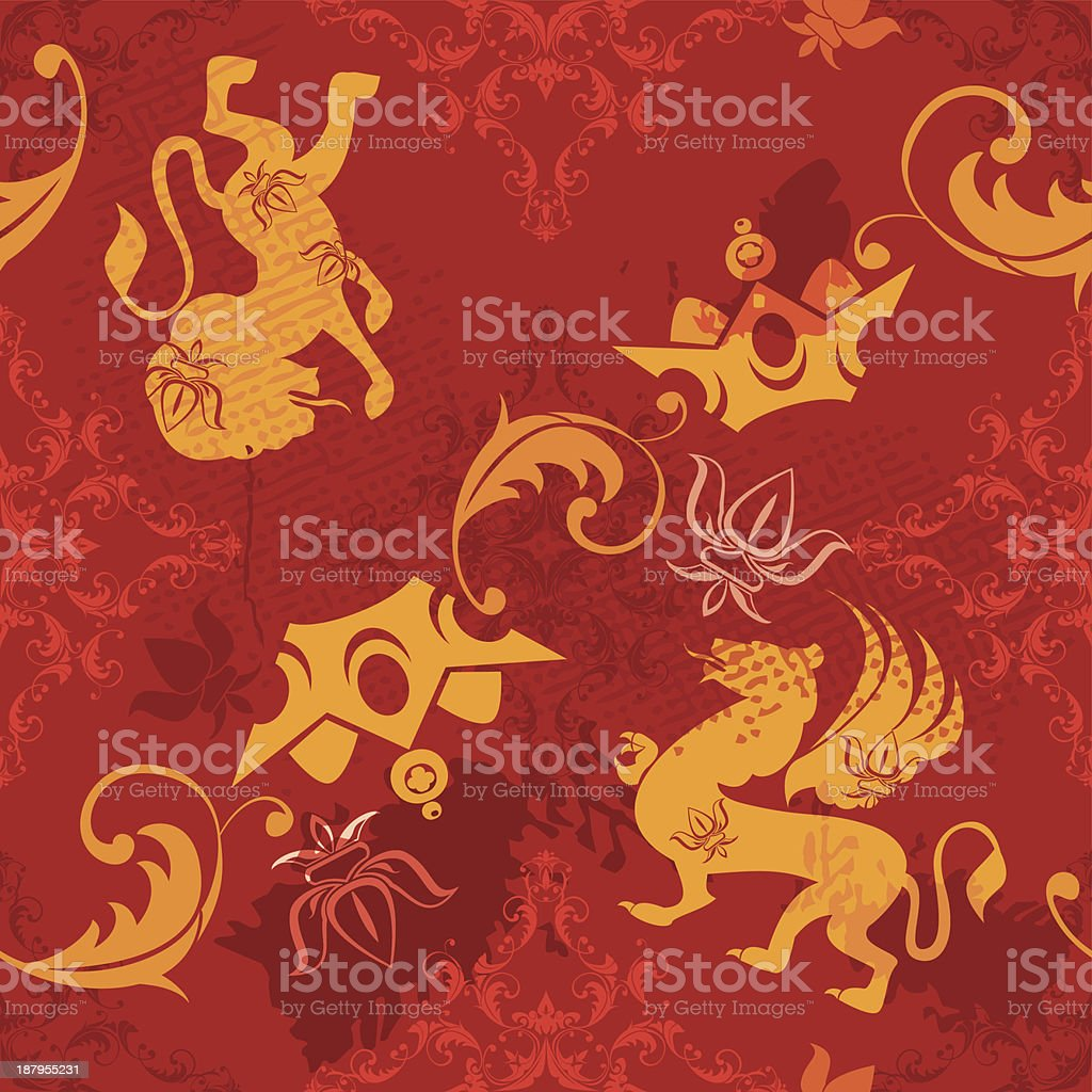 Seamless pattern with vintage heraldic silhouettes elements vector art illustration