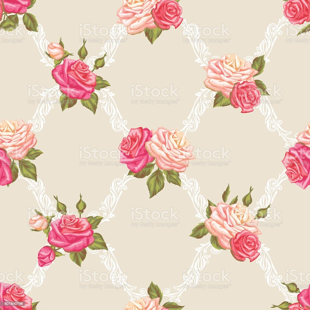 Seamless pattern with vintage roses. Decorative retro flowers. Easy to vector art illustration