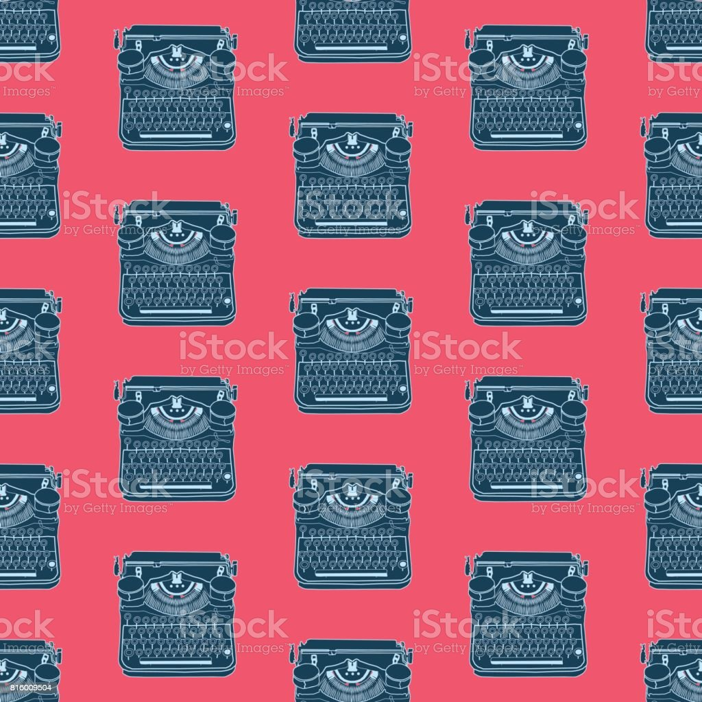 Seamless pattern with vintage typewriters vector art illustration