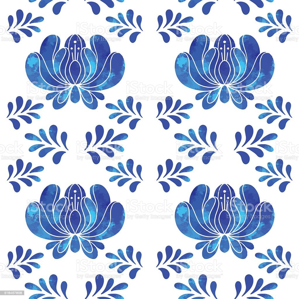 Seamless pattern with watercolor blue flowers vector art illustration