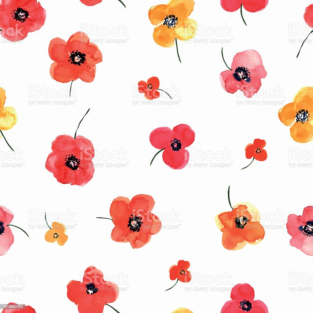 Seamless pattern with watercolor flowers. vector art illustration
