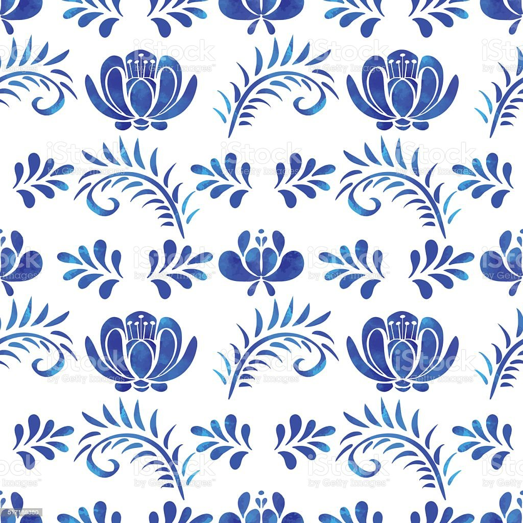 Seamless pattern with watercolor flowers vector art illustration