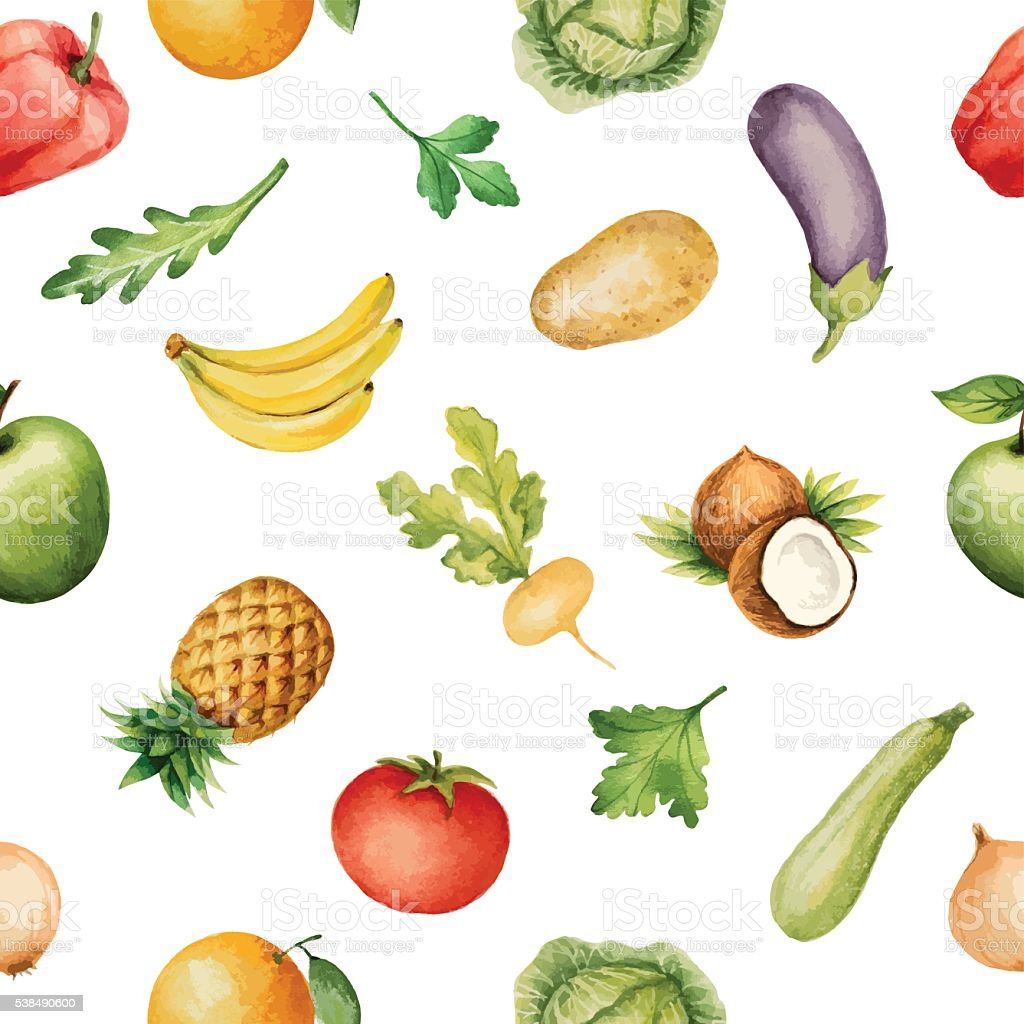 Seamless pattern with watercolor fruits and vegetables. vector art illustration