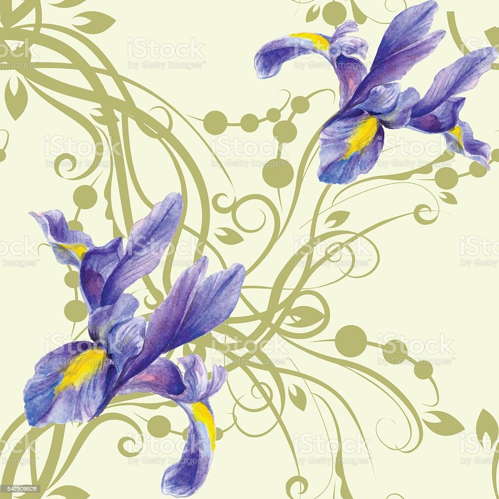 Seamless pattern with watercolor Irises vector art illustration