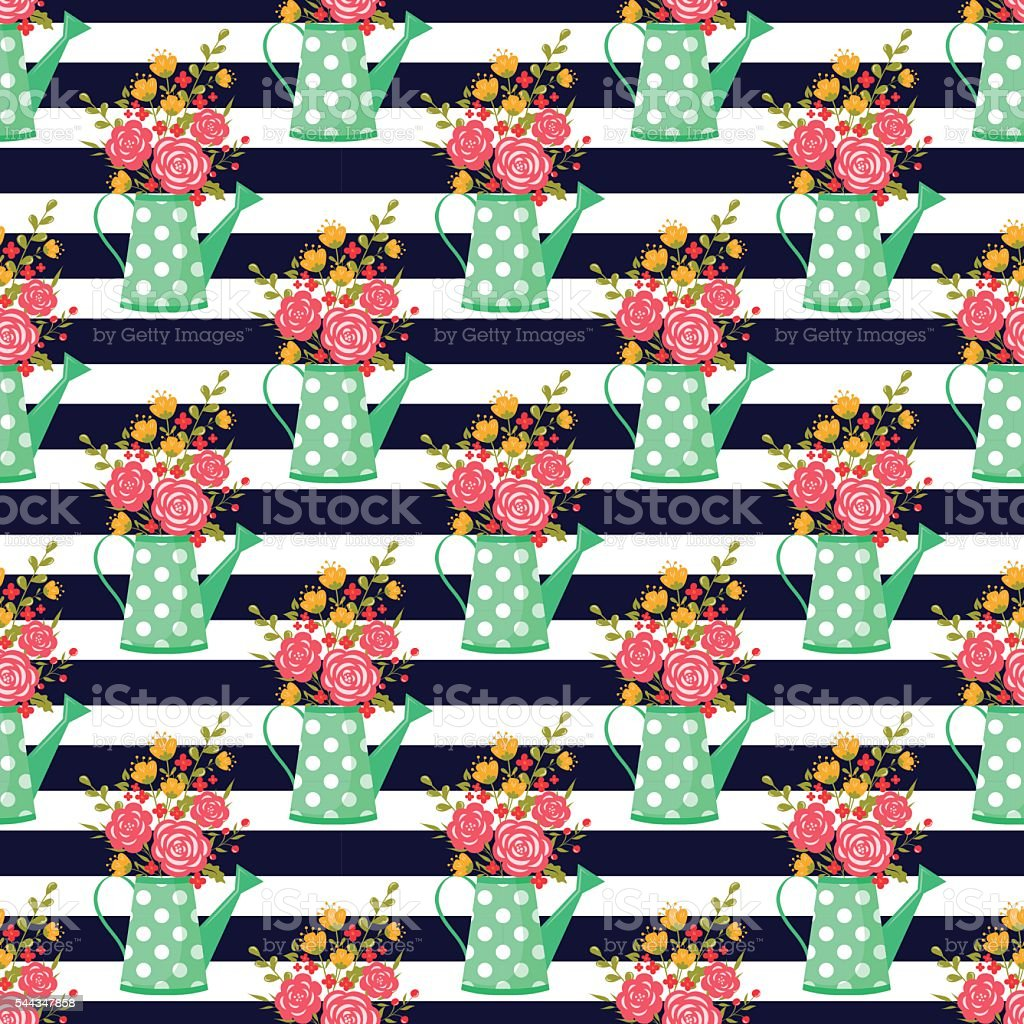 Seamless pattern with watering can and flowers. vector art illustration