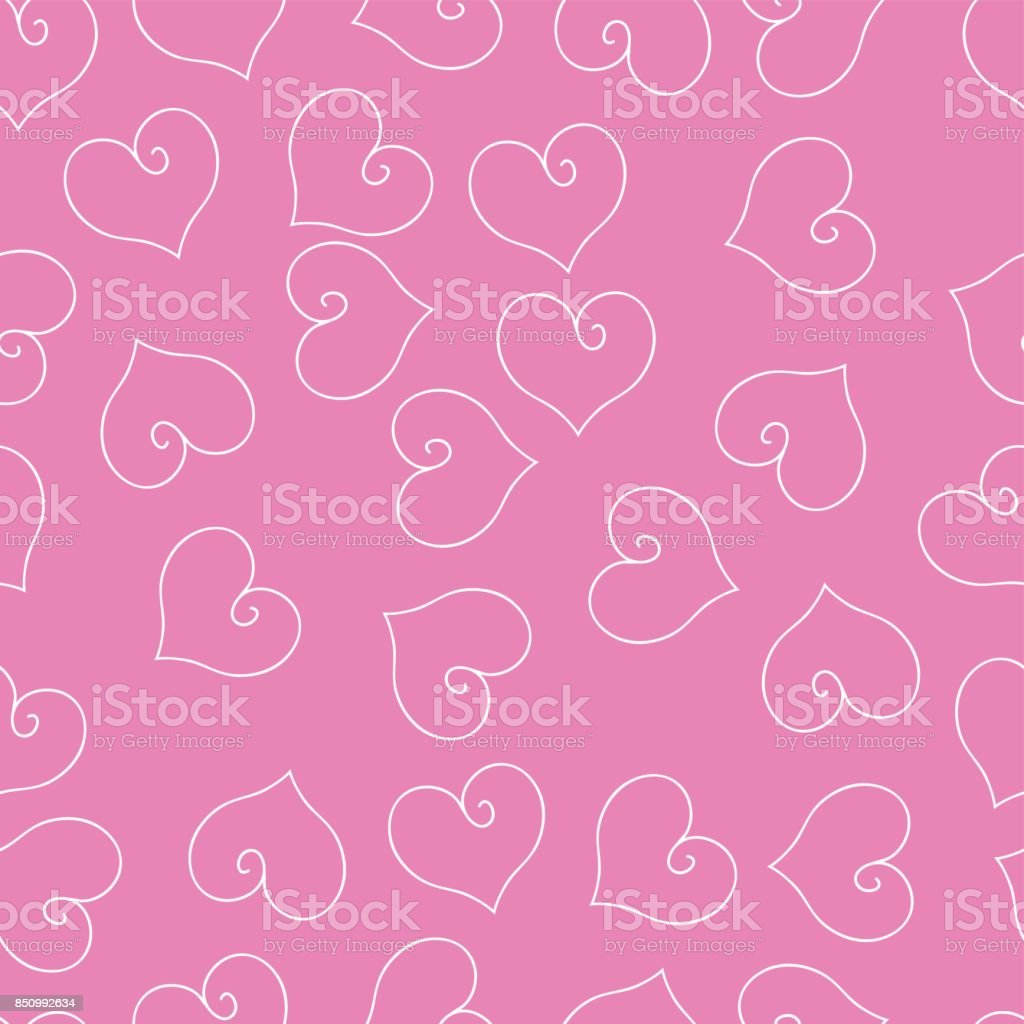 Seamless pattern with white hearts. vector art illustration