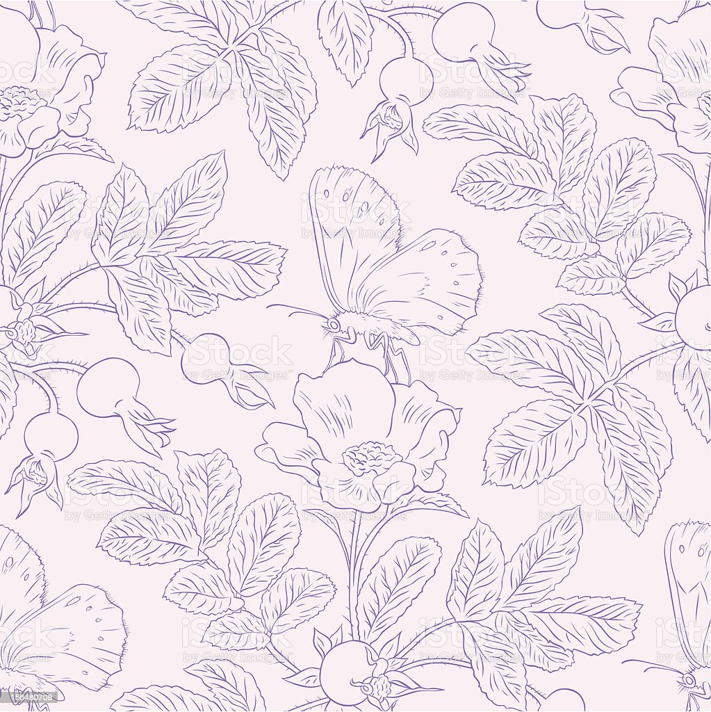 Seamless pattern with wild roses vector art illustration