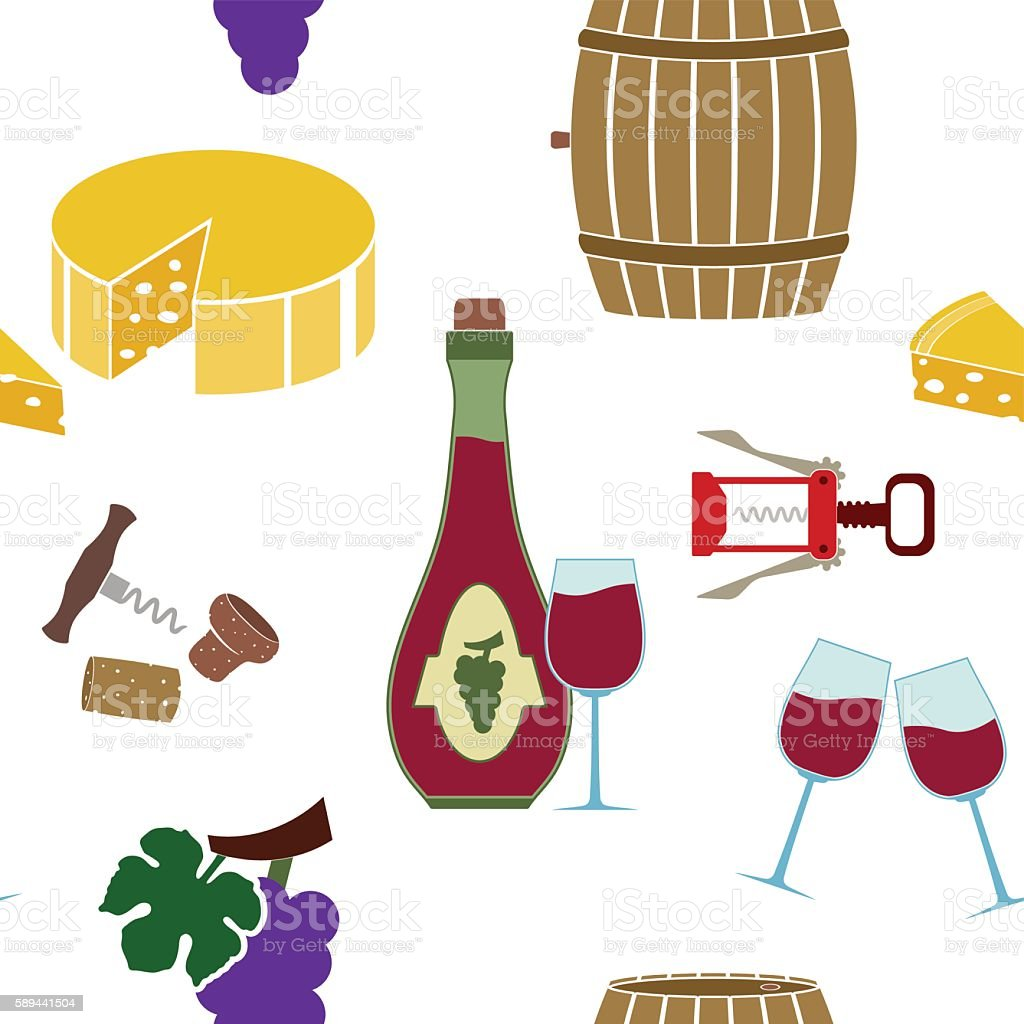 Seamless pattern with  wine icons vector art illustration