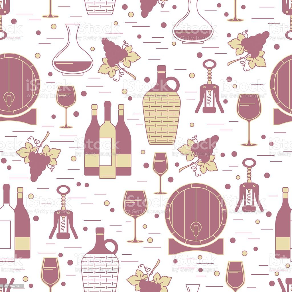 Seamless pattern with winemaking design element on white backgro vector art illustration