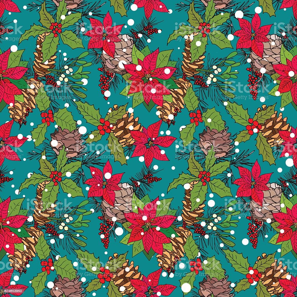 Seamless pattern with winter flowers and berries vector art illustration