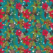 Seamless pattern with winter flowers and berries