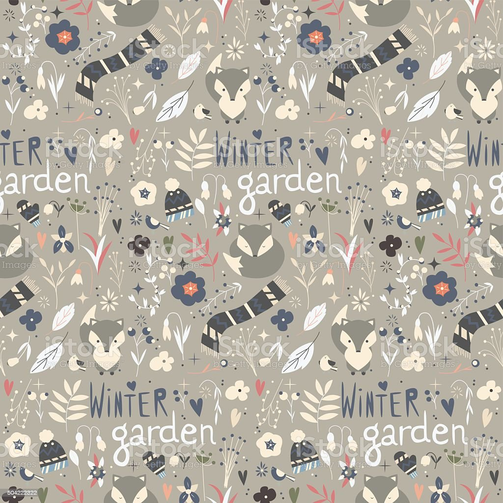 Seamless pattern with winter garden flowers, foxes and scarf vector art illustration