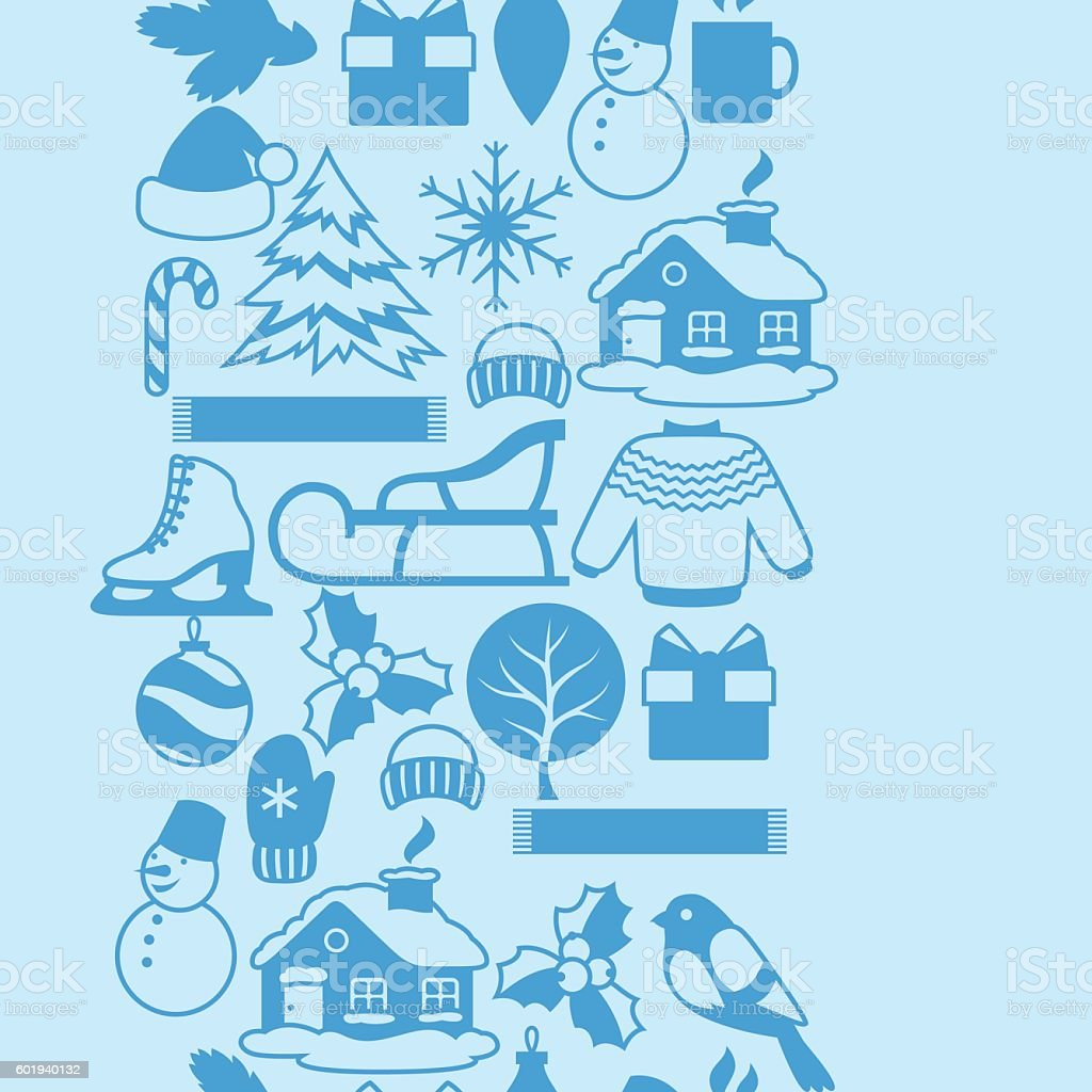 Seamless pattern with winter objects. Merry Christmas, Happy New Year vector art illustration
