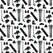 Seamless pattern with winter sports equipment on white background.