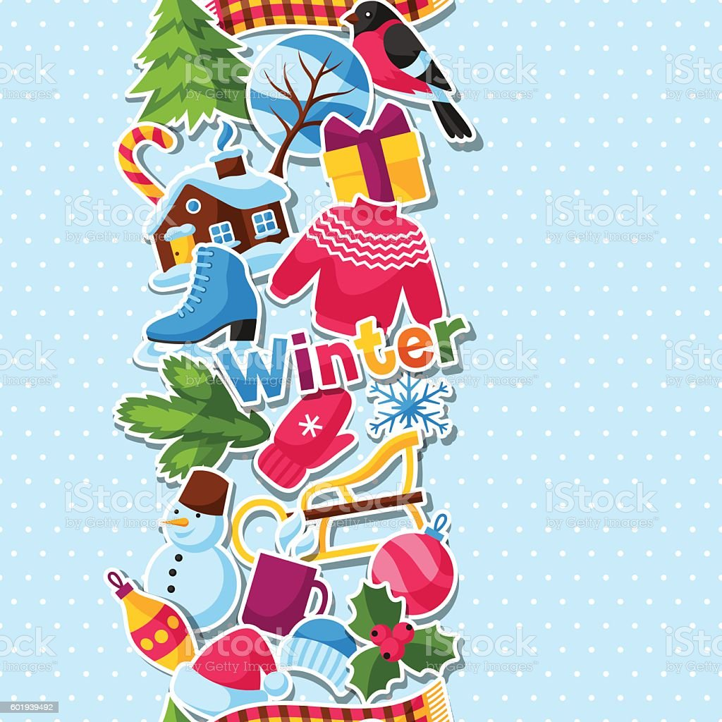 Seamless pattern with winter stickers. Merry Christmas, Happy New Year vector art illustration