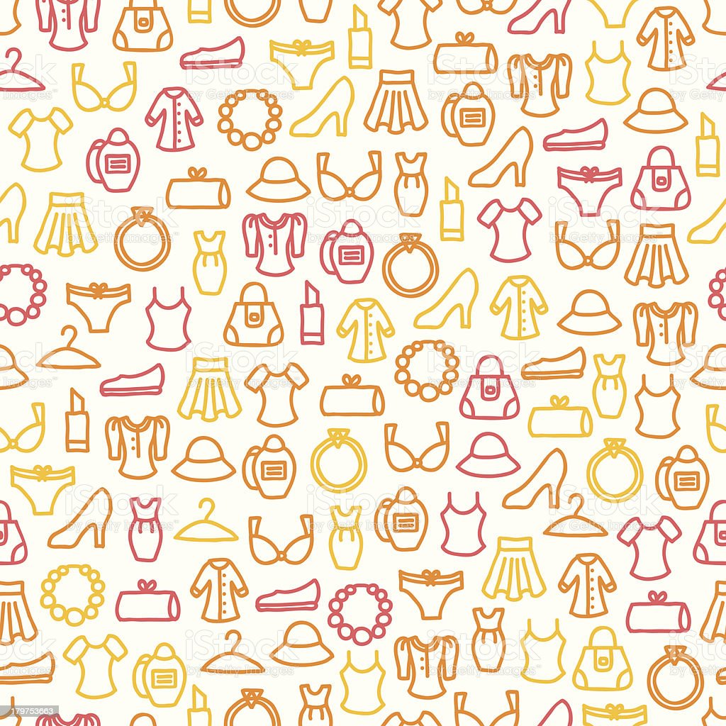 Seamless pattern with woman clothes vector art illustration