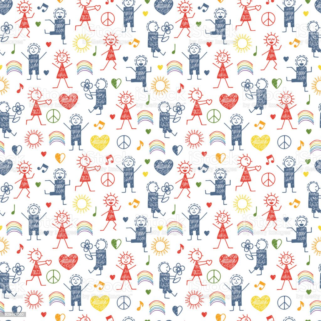 Seamless pattern with World Peace Day Symbols. International Holiday. vector art illustration