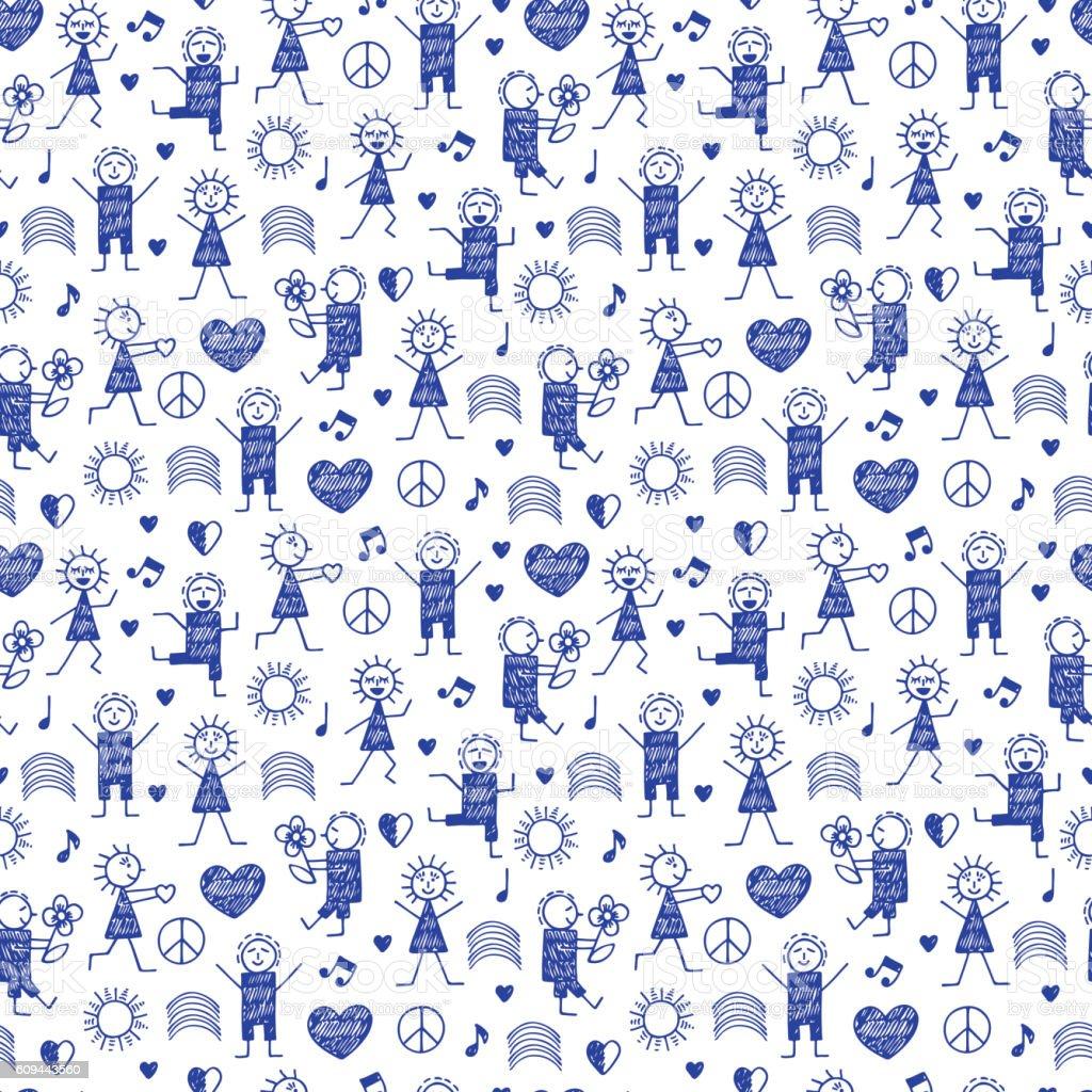 Seamless pattern with World Peace Day Symbols. International Holiday. vector art illustration