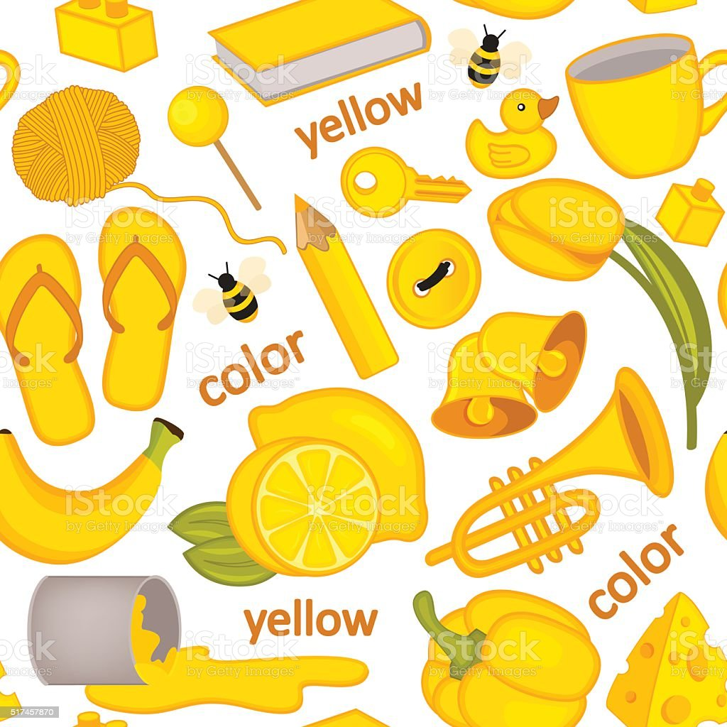 seamless pattern with yellow objects vector art illustration