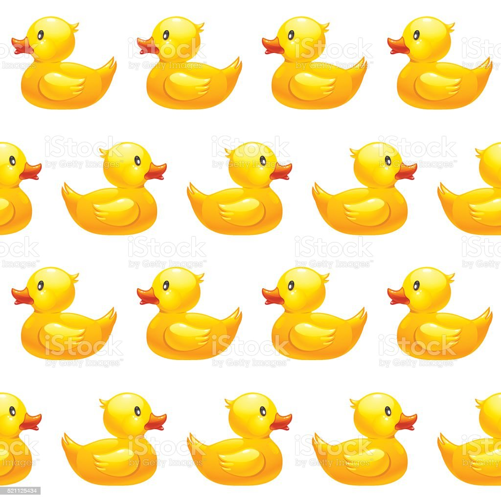 Seamless pattern with yellow rubber duck on white background vector art illustration
