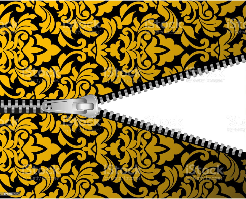 Seamless pattern with zipper vector art illustration