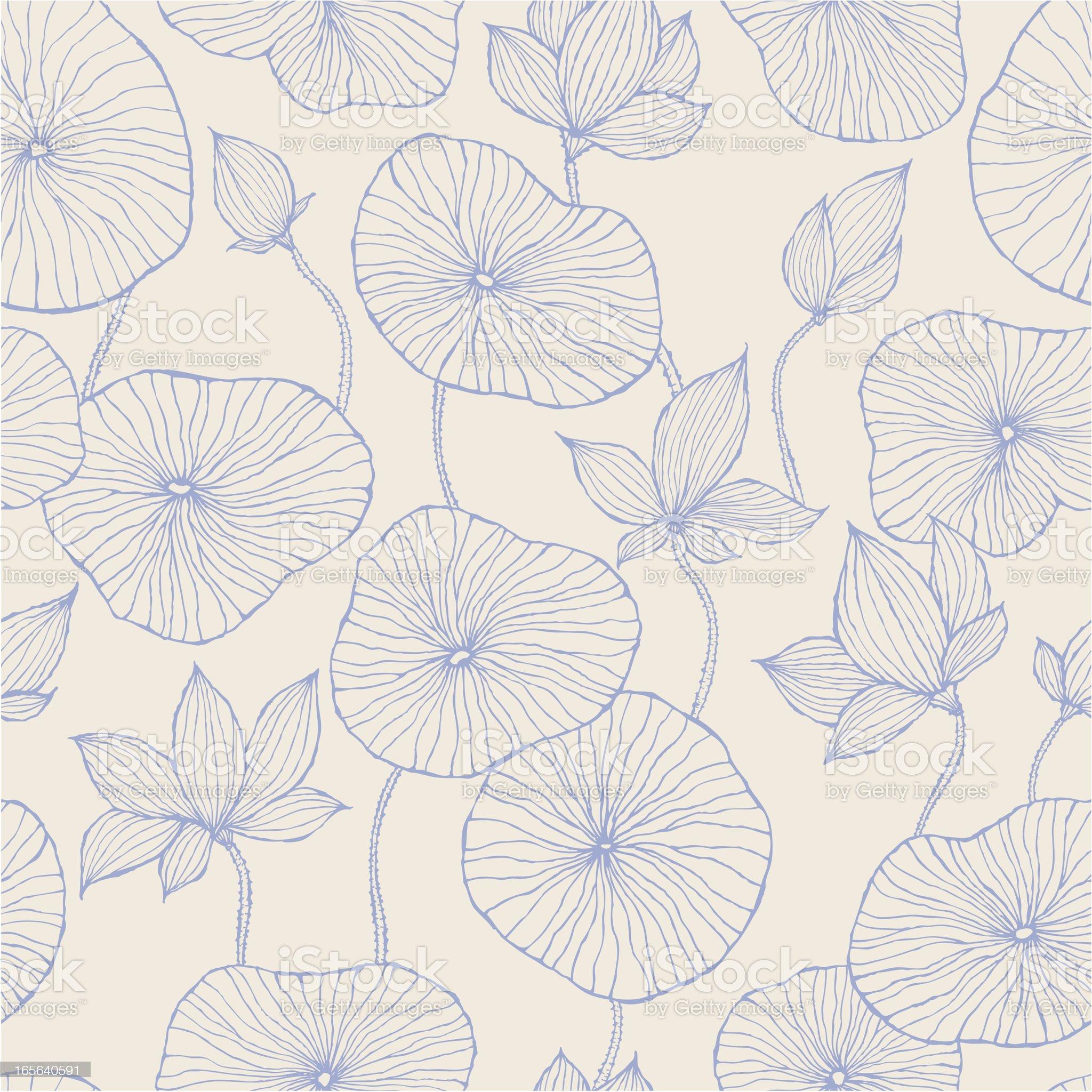 Seamless Pattern—Blue Lotus royalty-free stock vector art