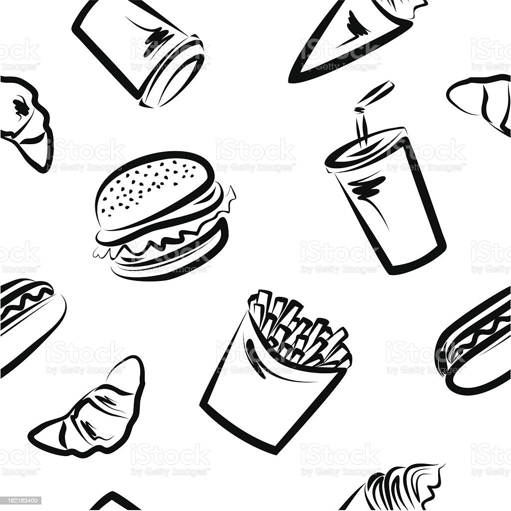 Seamless pattern-fast food vector art illustration