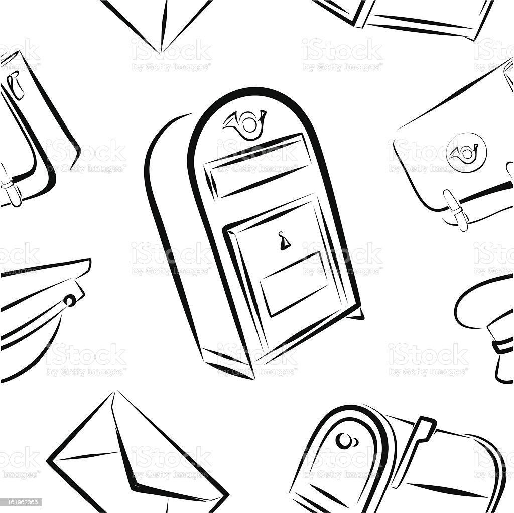 Seamless pattern-postal service vector art illustration