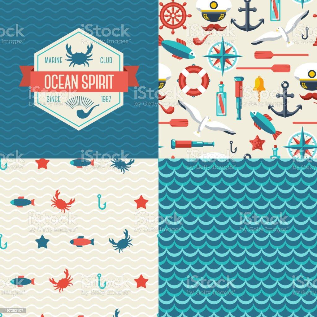 Seamless patterns of marine symbols and label. vector art illustration