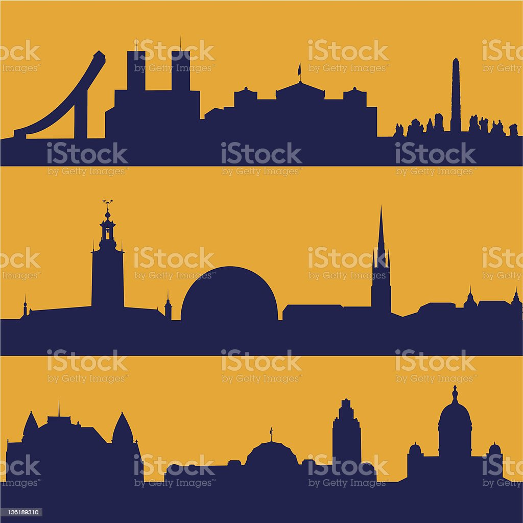Seamless patterns of  Scandinavian capitals royalty-free stock vector art