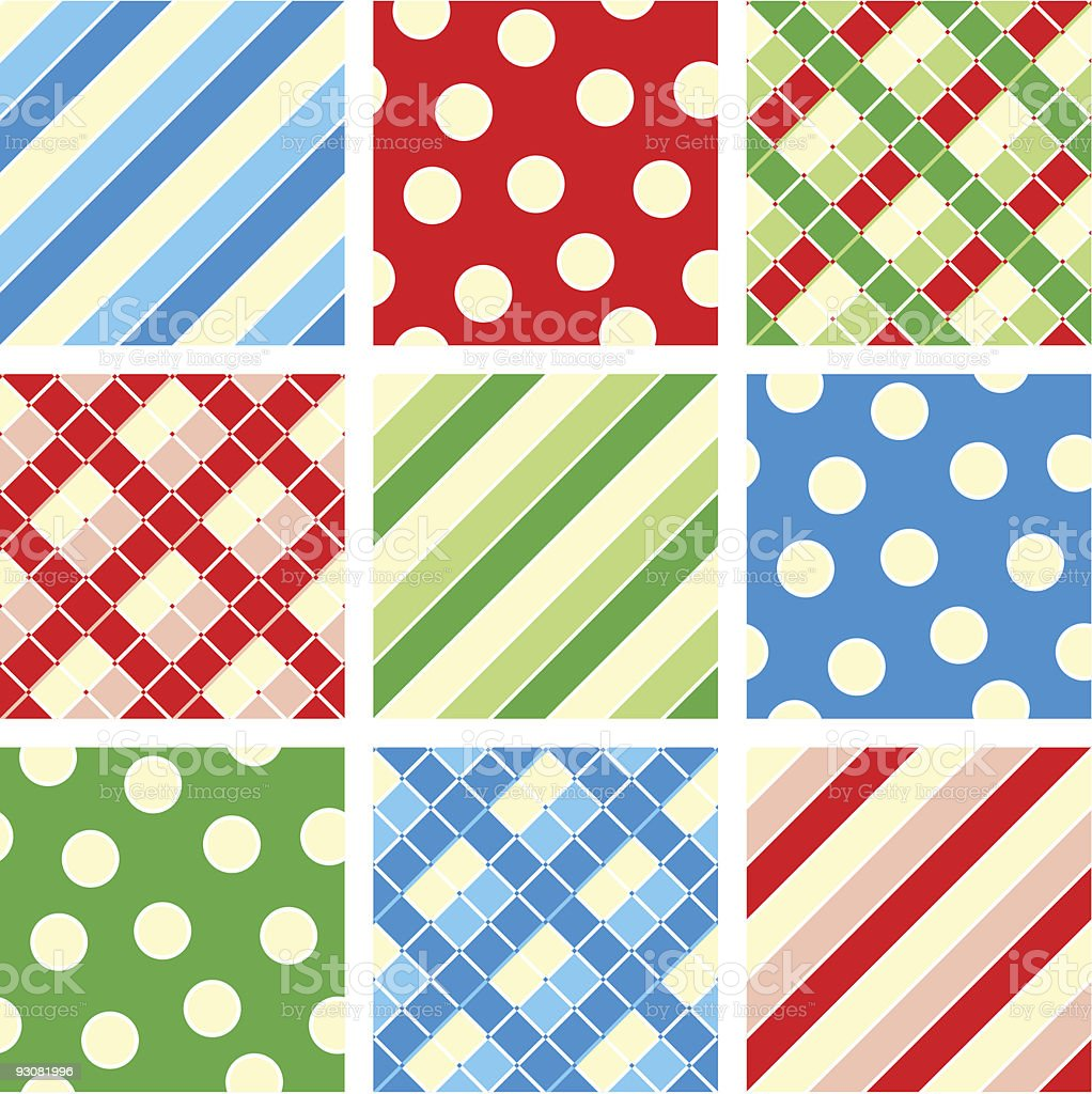 Seamless (repeatable) patterns (backgrounds) - polka-dot, plaid, stripes royalty-free stock vector art